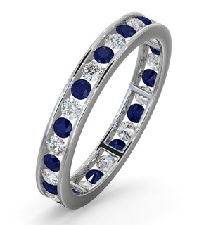 ETERNITY RING RAE DIAMONDS H/SI AND SAPPHIRE 1.40CT - 18K WHITE GOLD