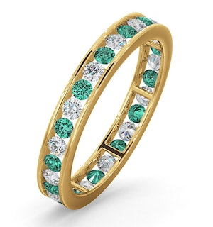 ETERNITY RING RAE DIAMONDS H/SI AND EMERALD 1.20CT - 18K GOLD