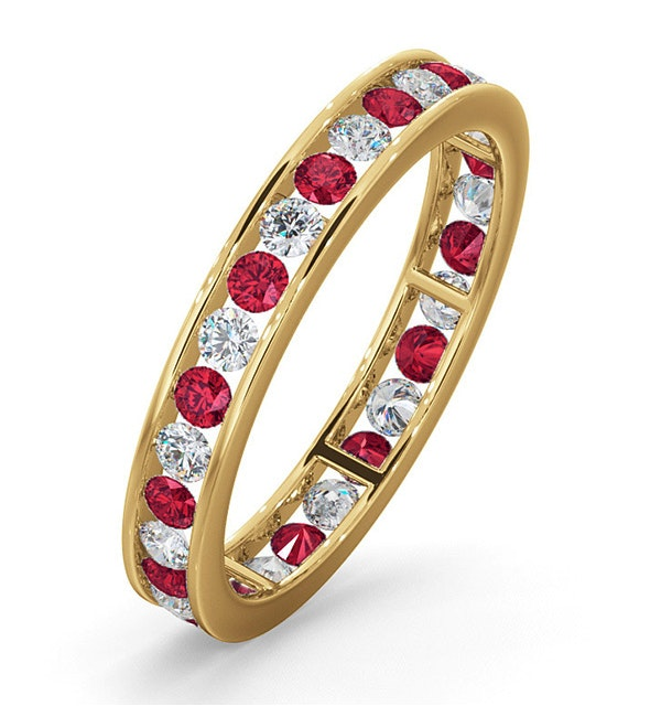 ETERNITY RING RAE DIAMONDS H/SI AND RUBY 1.30CT - 18K GOLD - image 1