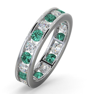 ETERNITY RING RAE DIAMONDS H/SI AND EMERALD 1.70CT - Platinum