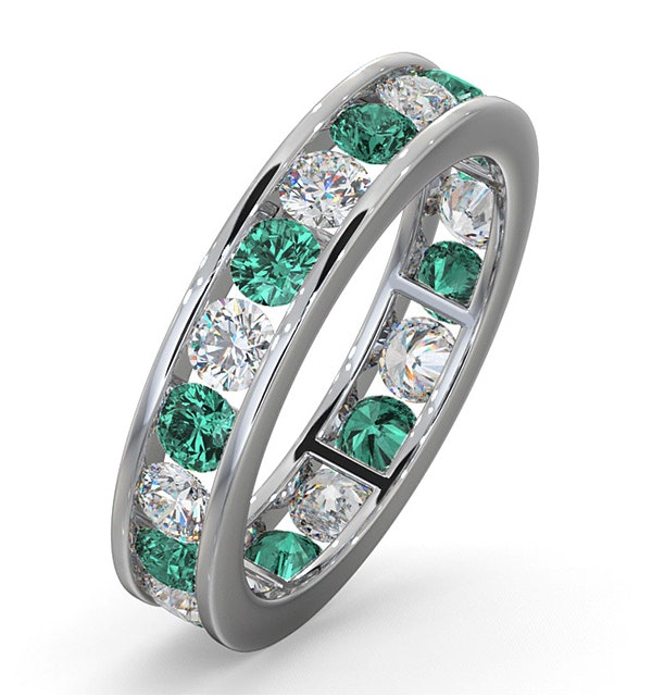 ETERNITY RING RAE DIAMONDS H/SI AND EMERALD 1.70CT - 18K WHITE GOLD - image 1