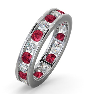 ETERNITY RING RAE DIAMONDS G/VS AND RUBY 1.80CT - 18K WHITE GOLD