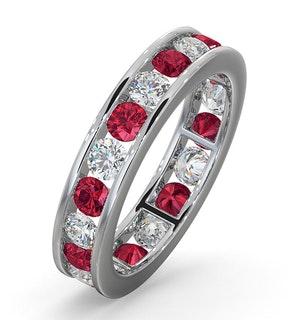 ETERNITY RING RAE DIAMONDS G/VS AND RUBY 1.80CT - Platinum