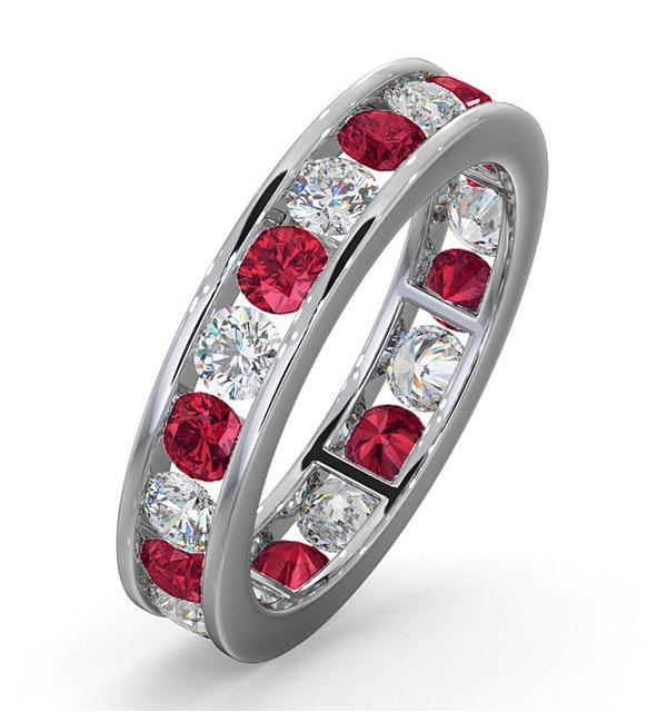 ETERNITY RING RAE DIAMONDS G/VS AND RUBY 1.80CT - 18K WHITE GOLD - image 1