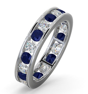 ETERNITY RING RAE DIAMONDS G/VS AND SAPPHIRE 1.90CT - Platinum