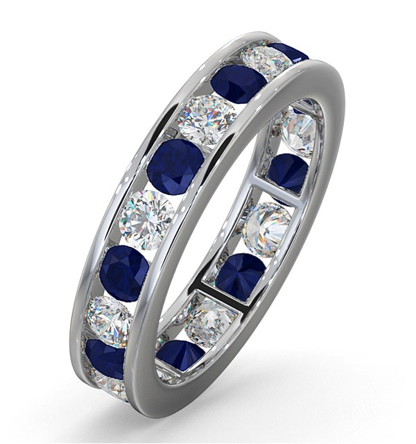 ETERNITY RING RAE DIAMONDS H/SI AND SAPPHIRE 1.90CT - Platinum - image 1