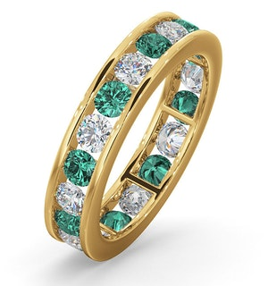 ETERNITY RING RAE DIAMONDS G/VS AND EMERALD 1.70CT - 18K GOLD