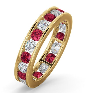ETERNITY RING RAE DIAMONDS G/VS AND RUBY 1.80CT - 18K GOLD