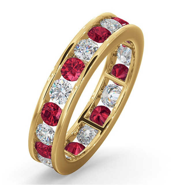 ETERNITY RING RAE DIAMONDS H/SI AND RUBY 1.80CT - 18K GOLD - image 1