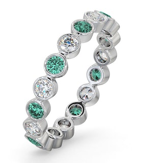 Emerald 0.70ct And H/SI Diamond Platinum Eternity Ring  HG35-322GJUS
