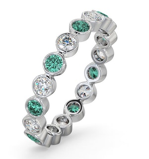 Emerald 0.70ct And G/VS Diamond 18KW Gold Eternity Ring