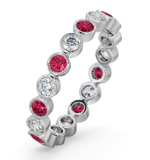Ruby 0.80ct And H/SI Diamond Platinum Eternity Ring
