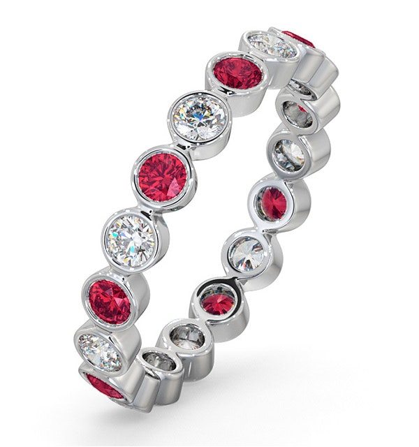 Ruby 0.80ct And H/SI Diamond Platinum Eternity Ring - image 1