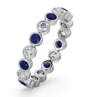 Sapphire 0.90ct And H/SI Diamond Platinum Eternity Ring  HG35-322UJUS