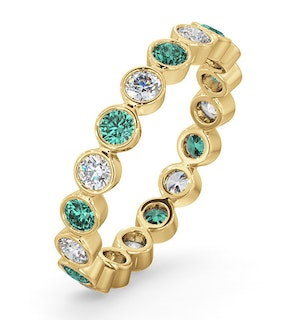 Emily 18K Gold Emerald 0.70ct and G/VS 0.50CT Diamond Eternity Ring