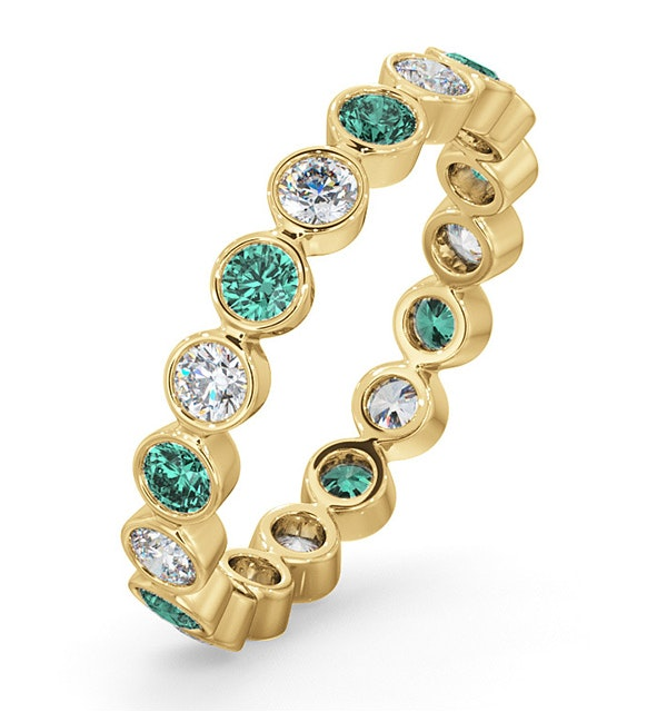 Emily 18K Gold Emerald 0.70ct and G/VS 0.50CT Diamond Eternity Ring - image 1