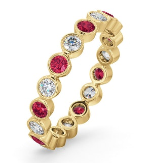 Emily 18K Gold Ruby 0.70ct and H/SI 0.50CT Diamond Eternity Ring