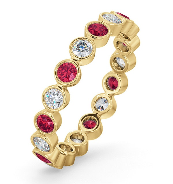 Emily 18K Gold Ruby 0.70ct and G/VS 0.50CT Diamond Eternity Ring - image 1