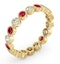 Emily 18K Gold Ruby 0.70ct and G/VS 0.50CT Diamond Eternity Ring - image 2