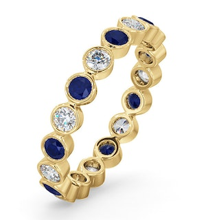Emily 18K Gold Sapphire 0.70ct and H/SI 0.50CT Diamond Eternity Ring
