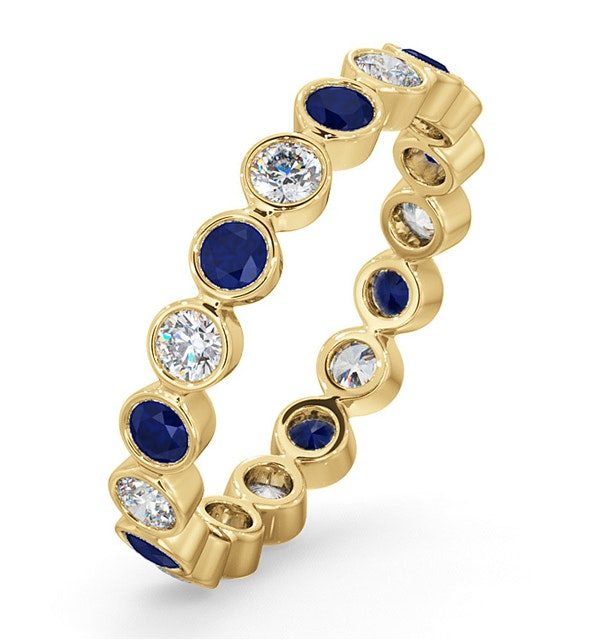 Emily 18K Gold Sapphire 0.70ct and G/VS 0.50CT Diamond Eternity Ring - image 1