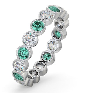 Emerald 1.10ct And G/VS Diamond 18KW Gold Eternity Ring