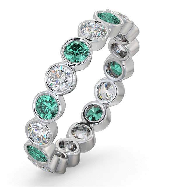 Emerald 1.10ct And H/SI Diamond 18KW Gold Eternity Ring - image 1