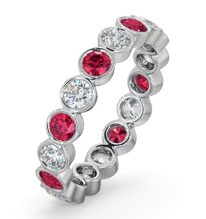 Ruby 1.50ct And H/SI Diamond Platinum Eternity Ring