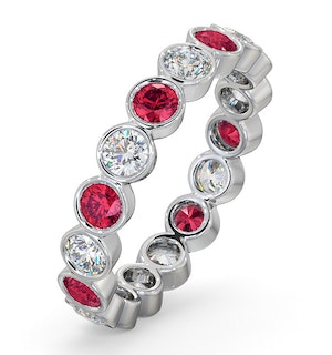Ruby 1.50ct And G/VS Diamond 18KW Gold Eternity Ring