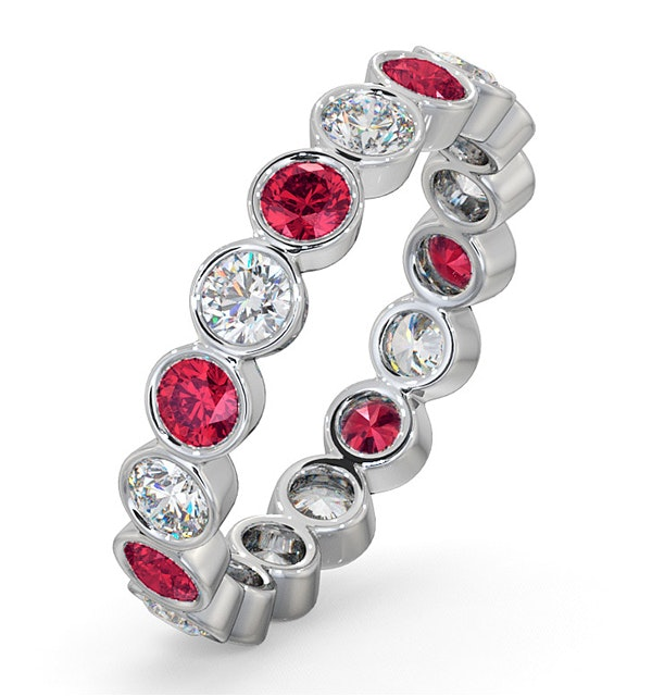 Ruby 1.50ct And G/VS Diamond Platinum Eternity Ring  HG35-422TXUS - image 1