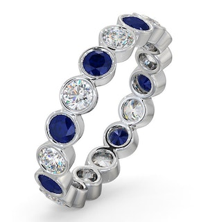 Sapphire 1.70ct And H/SI Diamond Platinum Eternity Ring