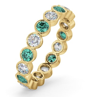 Emily 18K Gold Emerald 0.70ct and G/VS 1CT Diamond Eternity Ring
