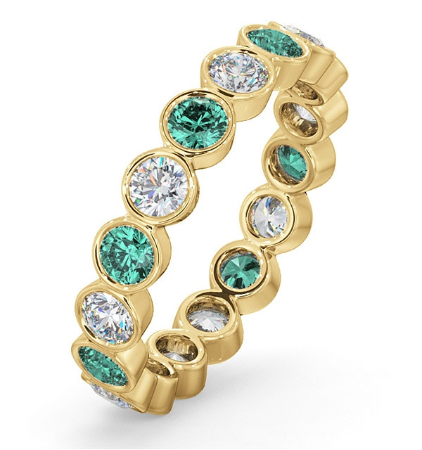 Emily 18K Gold Emerald 0.70ct and H/SI 1CT Diamond Eternity Ring - image 1