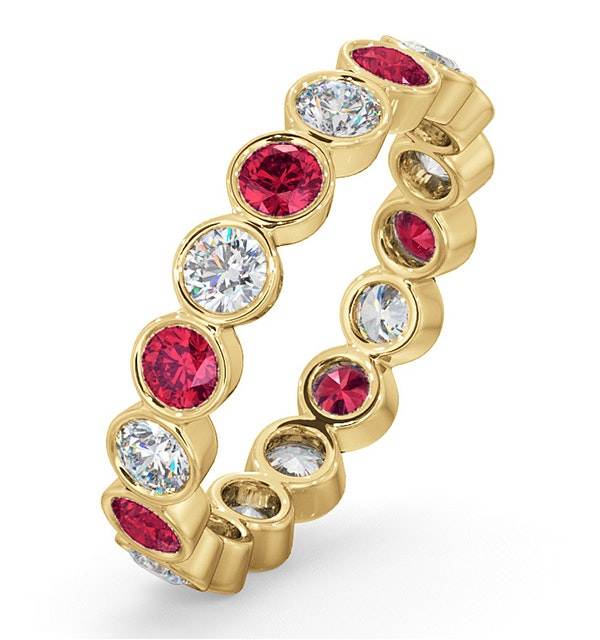Emily 18K Gold Ruby 0.70ct and G/VS 1CT Diamond Eternity Ring - image 1