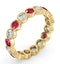 Emily 18K Gold Ruby 0.70ct and G/VS 1CT Diamond Eternity Ring - image 2