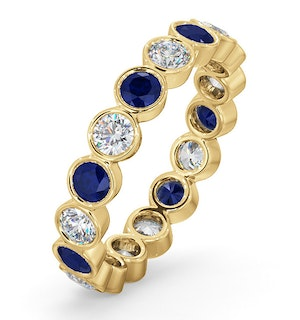 Emily 18K Gold Sapphire 0.70ct and G/VS 1CT Diamond Eternity Ring