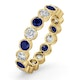 Emily 18K Gold Sapphire 0.70ct and H/SI 1CT Diamond Eternity Ring - image 1