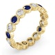 Emily 18K Gold Sapphire 0.70ct and H/SI 1CT Diamond Eternity Ring - image 2