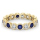 Emily 18K Gold Sapphire 0.70ct and H/SI 1CT Diamond Eternity Ring - image 3
