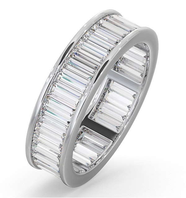 Mens 3ct H/Si Diamond 18K White Gold Full Band Ring - image 1