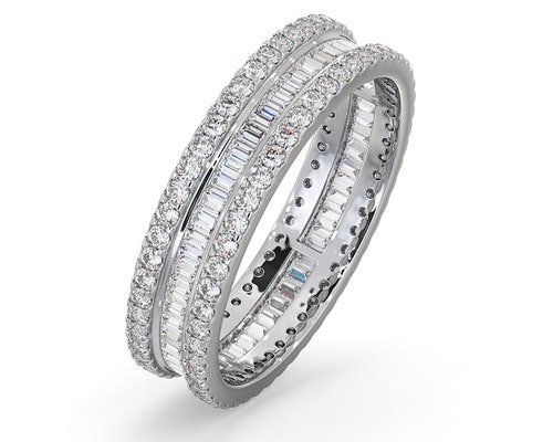 Baguette and Round Eternity Rings