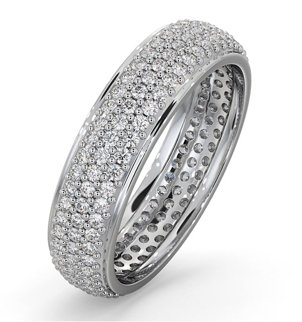 Mens 1ct H/Si Diamond 18K White Gold Full Band Ring  IHG55-322JUY - image 1