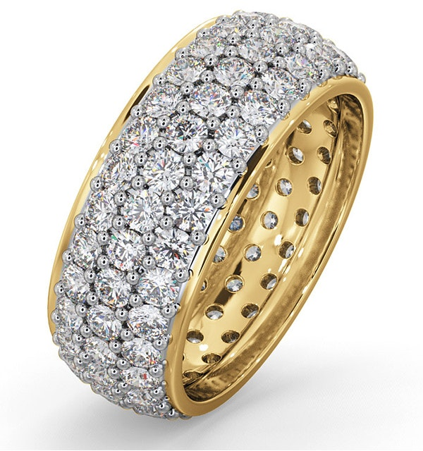 Mens 3ct H/Si Diamond 18K Gold Full Band Ring  IHG55-522JUA - image 1