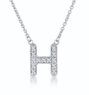 Initial 'H' Necklace Diamond Encrusted Pave Set in 9K White Gold