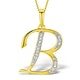 9K Gold Diamond Initial 'B' Necklace 0.05ct - image 1