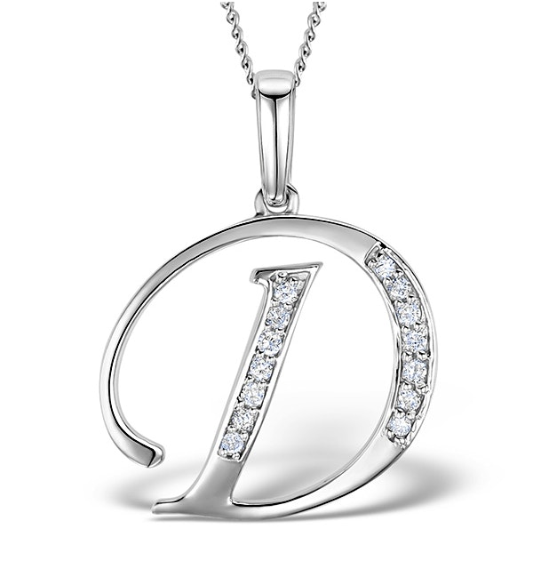 9K White Gold Diamond Initial 'D' Necklace 0.05ct - image 1