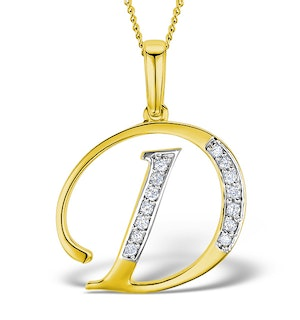 9K Gold Diamond Initial 'D' Necklace 0.05ct