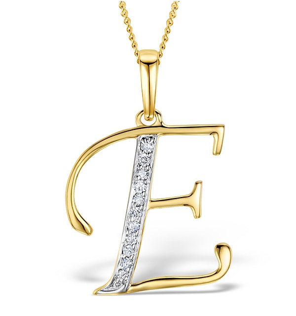9K Gold Diamond Initial 'E' Necklace 0.05ct - image 1