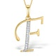 9K Gold Diamond Initial 'F' Necklace 0.05ct - image 1