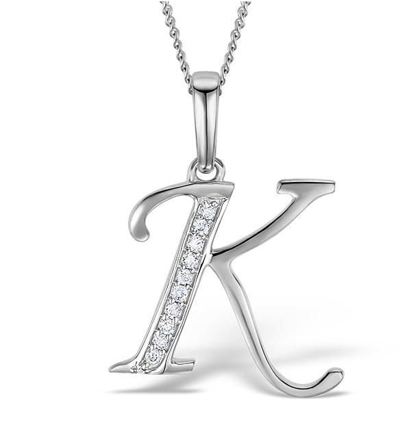 9K White Gold Diamond Initial 'K' Necklace 0.05ct - image 1
